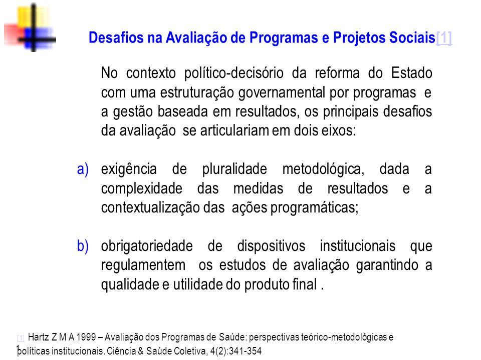 Desafios na Avaliação de Programas e Projetos Sociais[1]